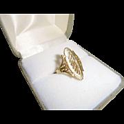 Chic 14K Gold Elongated Statement Ring Size 5 1/2