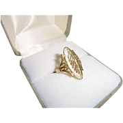 Mid-Century Chic 14K Gold Elongated Statement Ring Size 5 1/2