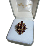 Magnificent 14K Gold & Garnets 3.50 TCW Cocktail Ring Size 5 1/2