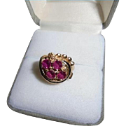 Mid-Century 14K Gold Pink Sapphire & Enamel Cocktail Ring Size 5