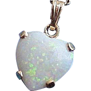 14K Fiery Opal Heart Shaped Pendant Necklace