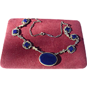 Rare Art Deco Sterling Silver Deep Blue Chalcedony Necklace