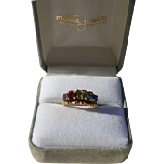 10K Solid Gold Multi Gemstone Ring Size 6.25