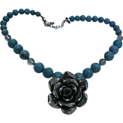 Sterling Silver Blue Turquoise & Crystal Rose Pendant Necklace