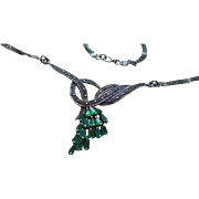 Art Deco Emerald Sterling Silver & Marcasite Pendant Bib Necklace