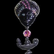 Vintage Genie & Lamp Rhinestone Dangling Brooch