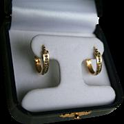 14K Gold & Diamonds Hoop Earrings