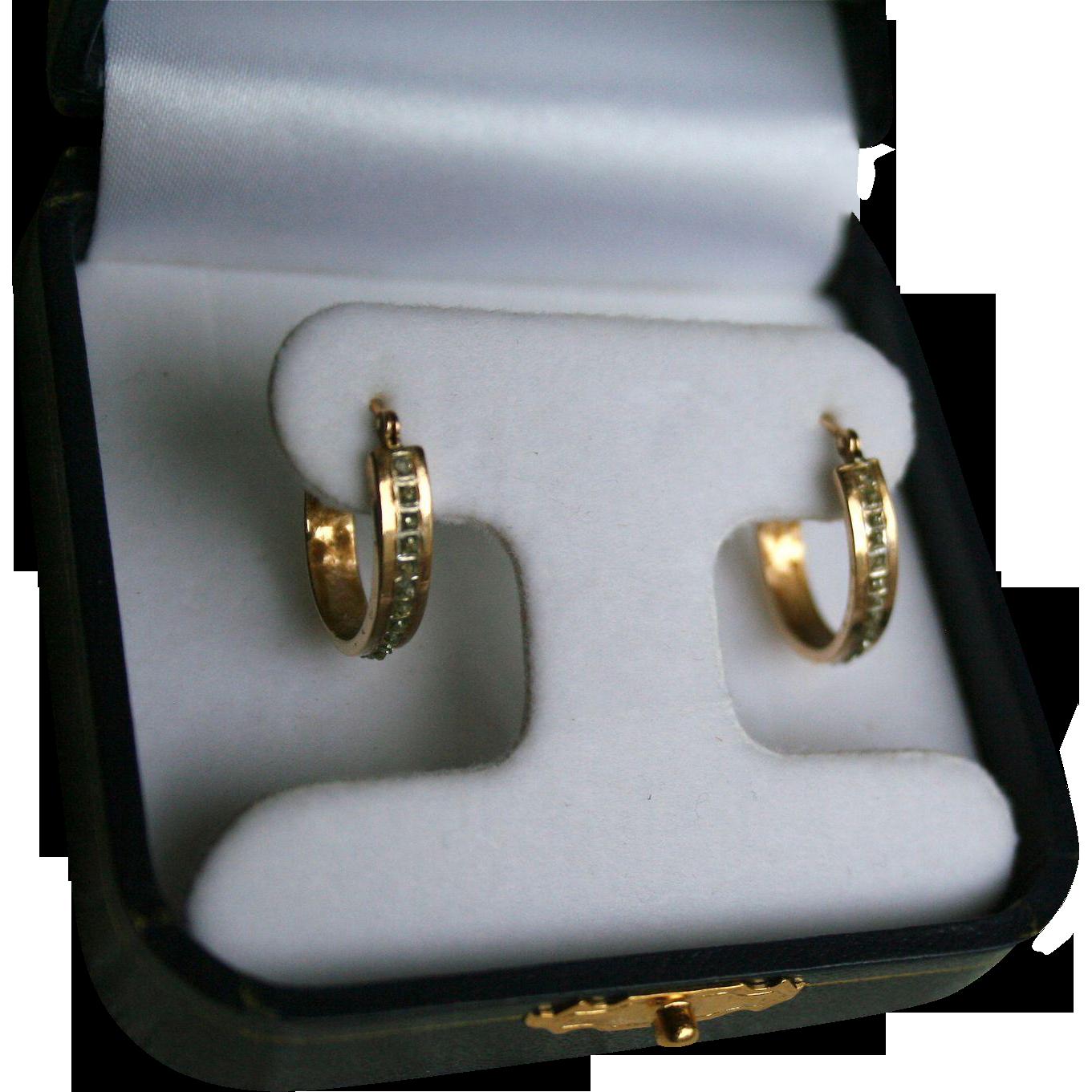 14k Gold Diamonds Hoop Earrings Random Harvest Ruby Lane