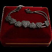 925 Heart Themed Sliding Charm Bracelet w/ Marcasites