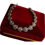 Gorgeous Diamond-Cut Etched Heart Motiff Sterling Silver Bracelet