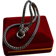 Chunky Double Snake-Head Marcasite Sterling Silver Necklace
