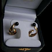 14K Gold Napco Genuine Onyx Dangling Pierced Earrings