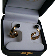 14K Gold Napco Genuine Onyx Dangling Pierced Earrings