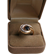 14K Yellow Gold Sapphire and Diamond Mid-Century Ring Sz 6.5