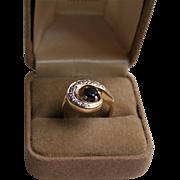 14K Yellow Gold Sapphire and Diamond Mid-Century Ring Sz 6.5