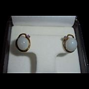 14K Gold White Jade Cabochon & Amethyst Earrings