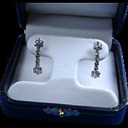 14K Diamond & White Gold Dangling Earrings