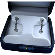 14K Diamond & White Gold Dangling Earrings