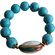 Vintage Turquoise Gold-Plated Sterling Inlaid Coral Bracelet
