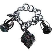 Fabulous Silver-tone Rope Bracelet with Antique Fob Charms