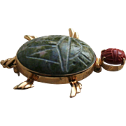 14K Solid Gold Van Dell Scarab Stone Turtle Brooch