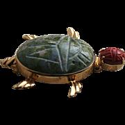 14K Solid Gold Van Dell Scarab Stone Turtle Brooch