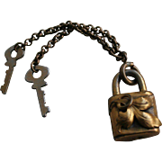Antique Art Nouveau Padlock Charm Bookchain Keys