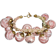 50% Off! Rare Miriam Haskell Bauble Pink Encased Celluloid Cha-Cha Charm Bracelet