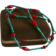 Turquoise & Red Coral Beaded Necklace Sterling Silver Clasp