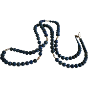 Genuine Lapis Lazuli Freshwater Pearl Long Beaded Necklace