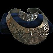 Kissing Birds Silver Plated Hammered Collar Necklace & Bracelet Set