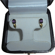 14K Gold Amethyst Leaf Design Post Earrings