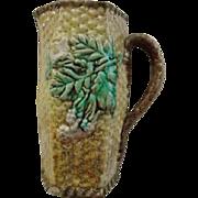 Antique 19th Century English Majolica Basket Weave Pitcher Flower Cabbage Leaf