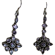 Vintage Sterling Silver Amethyst Dangling Floral Earrings