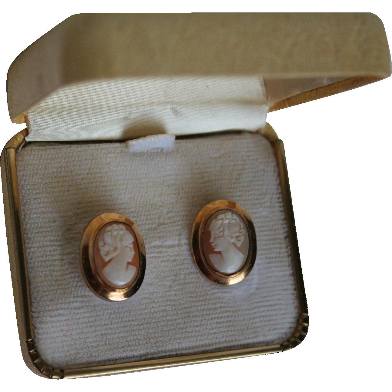 Vintage Gold Filled Cameo Earrings Random Harvest Ruby Lane