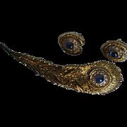 Irish Sterling Silver and Blue Gemstone Brooch & Earrings Set