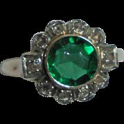 10K Emerald .80 TCW and Diamond Art Deco Era Ring Size 5