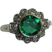 50% Off! 10K Emerald .80 TCW and Diamond Art Deco Era Ring Size 5
