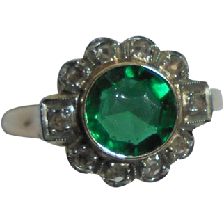 10K Emerald .80 TCW and Diamond Art Deco Era Ring Size 5