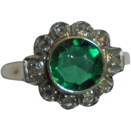 Reserved for M** 10K Emerald .80 TCW and Diamond Art Deco Era Ring Size 5