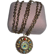 Compass Pendant Necklace Rhinestone Jewelled Glass Back