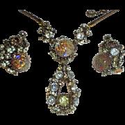 1958 Hollycraft Vintage Dated Foil Rhinestone Pendant Necklace & Earrings Set Demi Parure