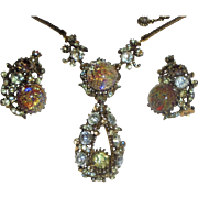 1958 Hollycraft Vintage Dated Foil Rhinestone Pendant Necklace & Earrings Set Demi Parure