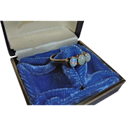 Antique Triple Fiery Opal 9K 9CT Gold Ring Size 7.5