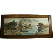 4Ft Chinese Mountains Landscape Painting on Silk Mid Century Modern Wood Frame Signed & Red Seal Mark