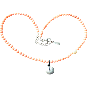 Peyote Bird Signed Genuine Angelskin Coral,  Cultured Freshwater Pearl and Sterling Silver Necklace