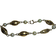 Rare 19K Gold European Cultured Pearl Hallmarked Link Bracelet