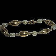 Rare 19K Gold Portuguese Cultured Pearl European Hallmarked Link Bracelet