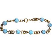 Vintage Amerikaner Gold-Filled Blue Turquoise Bracelet from Germany European