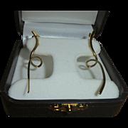 14K Gold Mid-Century Modernist Freeform Sculptural Elongated Swirl Pierced Earrings